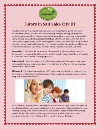 Tutors In Salt Lake City UT