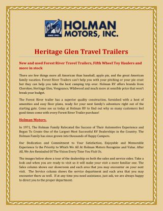 Heritage Glen Travel Trailers