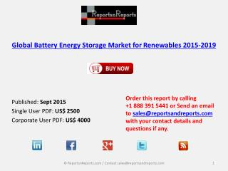 Global Battery Energy Storage Market for Renewables 2015-2019
