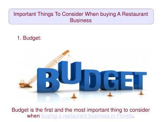 Important Things To Consider When buying A Restaurant Business