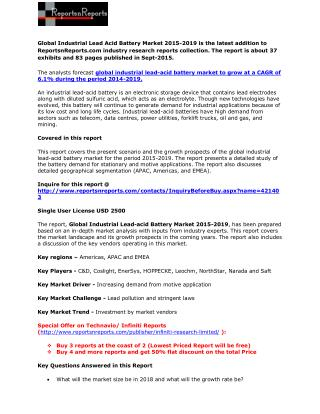 Global Industrial Lead Acid Battery Market 2015-2019