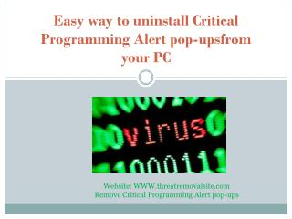 Effective solution to remove Critical Programming Alert pop-ups