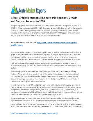 Global Graphite to 2020 Market - Industry Outlook, Size,Share, Growth Prospects, Key Opportunities, Trends and Forecasts