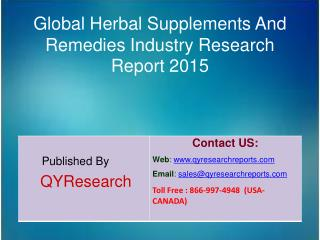 Global Herbal Supplements And Remedies Market 2015 Industry Growth, Analysis, Forecast, Research and Overview
