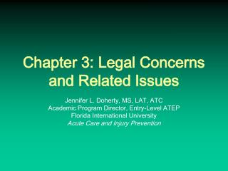 Chapter 3: Legal Concerns and Related Issues