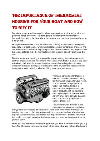 The Importance of Thermostat Housing for Your Boat and How to Buy It
