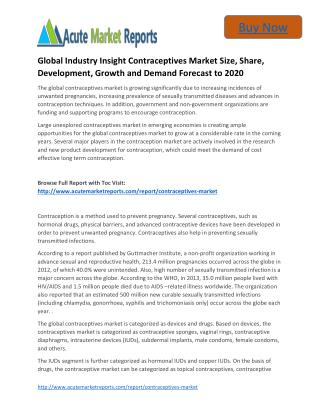 Global Industry Insight Contraceptives to 2020 Market Size, Trends and Forecasts,: Acute Market Reports