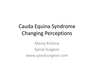 Cauda Equina Syndrome Changing Perceptions