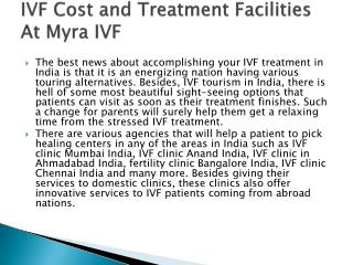 IVF Cost and Treatment Facilities At Myra IVF