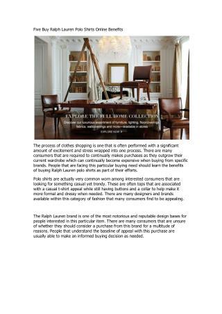 Five Buy Ralph Lauren Polo Shirts Online Benefits