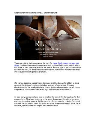 Ralph Lauren Polo Womens Shirts AT BrandsWeekEnd