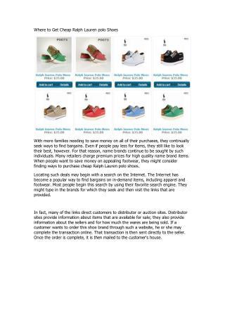 Where to Get Cheap Ralph Lauren polo Shoes.