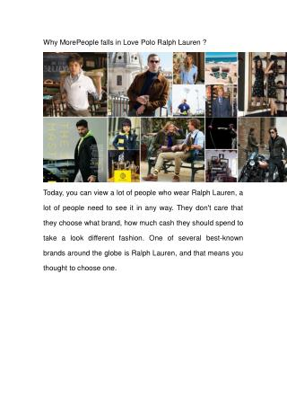 Why MorePeople falls in Love Polo Ralph Lauren