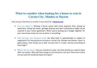 What to consider when looking for a house to rent in Carson City, Minden or Dayton