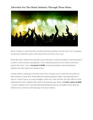Advertise For The Music Industry Through These Ideas