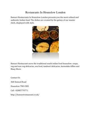 Restaurants In Hounslow London