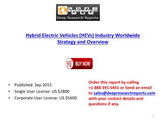 Global Hybrid Electric Vehicles (HEVs) Industry 2015 Research Report