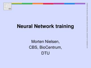 Neural Network training