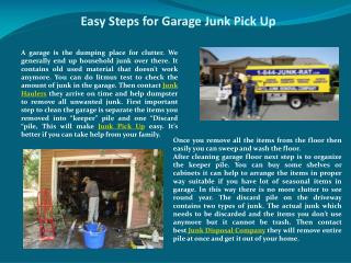 Easy Steps for Garage Junk Pick Up