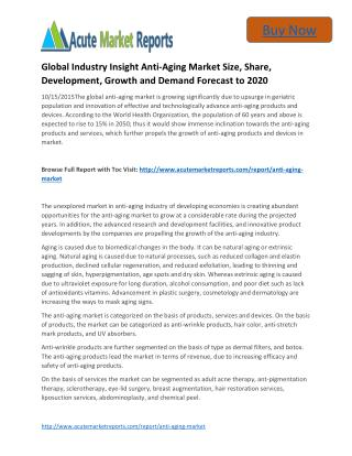 Global Industry Insight Anti-Aging to 2020 � Market Estimate, Competitive Landdscape, Industry Size: Acute Market Report
