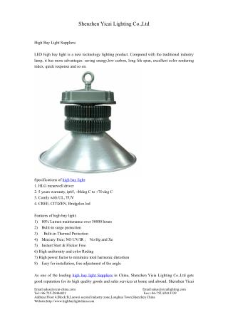 high bay light Suppliers