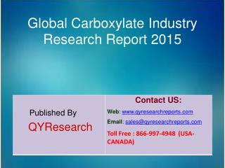 Global Carboxylate Market 2015 Industry Demands, Trends, Share, Research and Analysis
