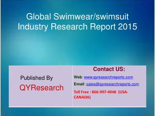 Global Swimwear/swimsuit Market 2015 Industry Size, Shares, Research, Insights, Growth, Analysis, Development, Trends, O