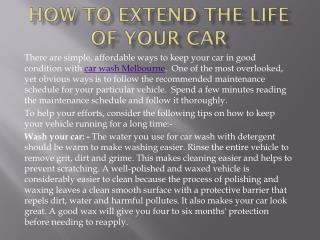 How to extend the life of your car