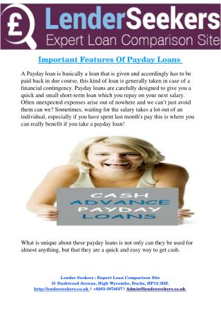Important Features Of Payday Loans