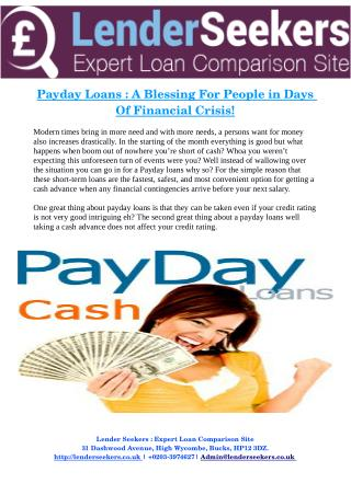 Payday Loans : A Blessing For People in Days Of Financial Crisis!