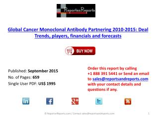 Global Cancer Monoclonal Antibody Partnering Market 2010 – 2015 Report Published on ReportsnReports.com