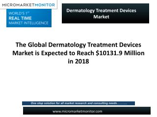 The Global Dermatology Treatment Devices Market is Expected to Reach $10131.9 Million in 2018