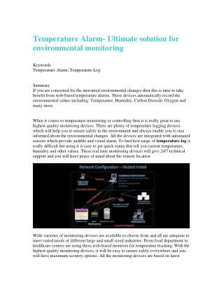 Temperature Alarm- Ultimate solution for environmental monitoring