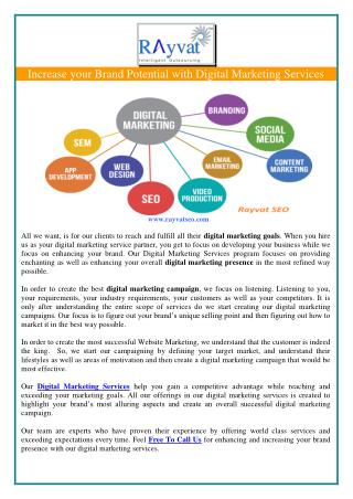 Increase your Brand Potential with Digital Marketing Services