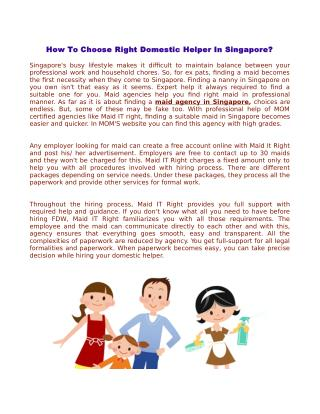 How To Choose Right Domestic Helper In Singapore?