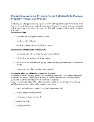 Cheap Conveyancing Brisbane Helps Individuals to Manage Property Transaction Process