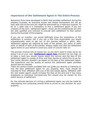 Importance of the Settlement Agent in The Entire Process