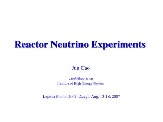 Reactor Neutrino Experiments