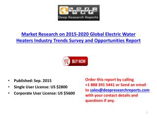 2015 Global Electric Water Heaters Industry Trends Survey and Opportunities Report