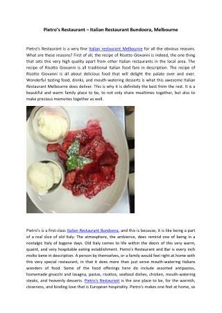 Pietro's Restaurant Melbourne