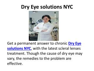 Dry Eye solutions NYC