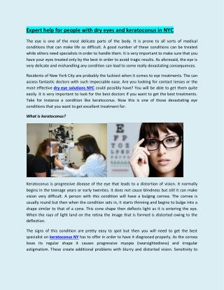 Expert help for people with dry eyes and keratoconus in NYC