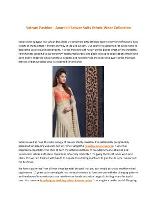 Satrani Fashion - Anarkali Salwar Suits Ethnic Wear Collection