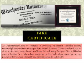 Fake Degree Certificate