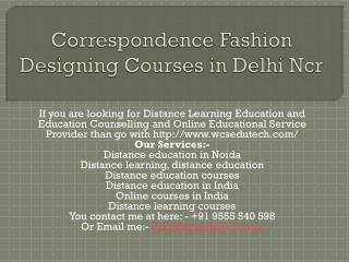 correspondence fashion designing courses in delhi ncr
