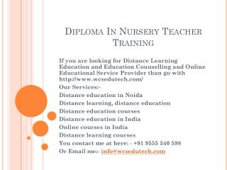Diploma In Nursery Teacher Training