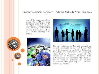 Enterprise Social Software – Adding Value to Your Business