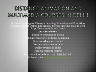 Distance Animation And Multimedia Courses In Delhi