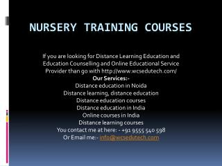 nursery training courses