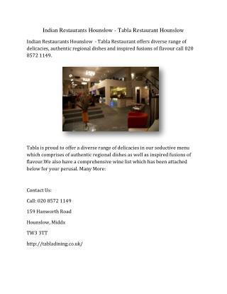 Indian Restaurants Hounslow - Tabla Restaurant Hounslow